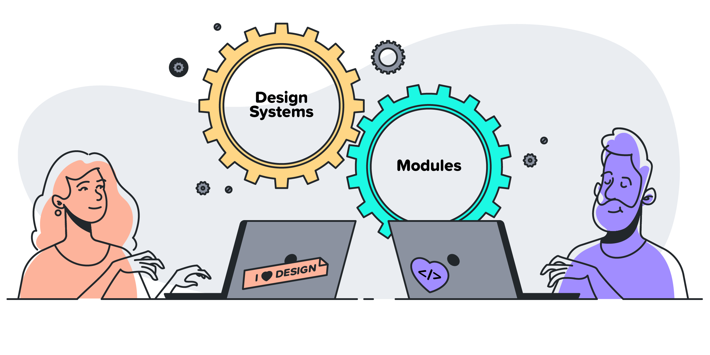 An illustration of a man and a woman in front of laptops with gears labelled as Design Systems and Modules turning together.