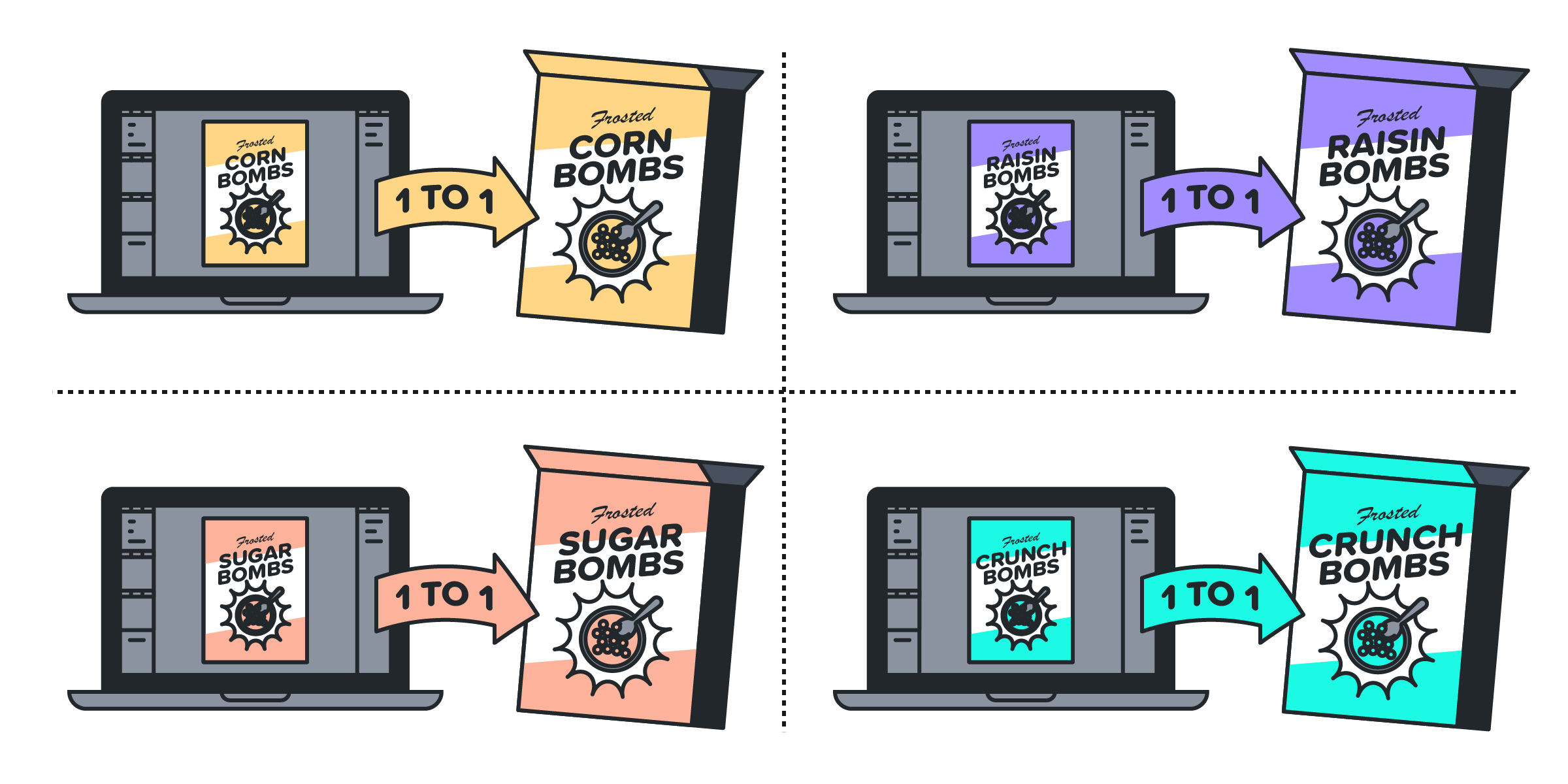 An illustration showing various cereal box art with a one-to-one relationship with its digital and physical versions.
