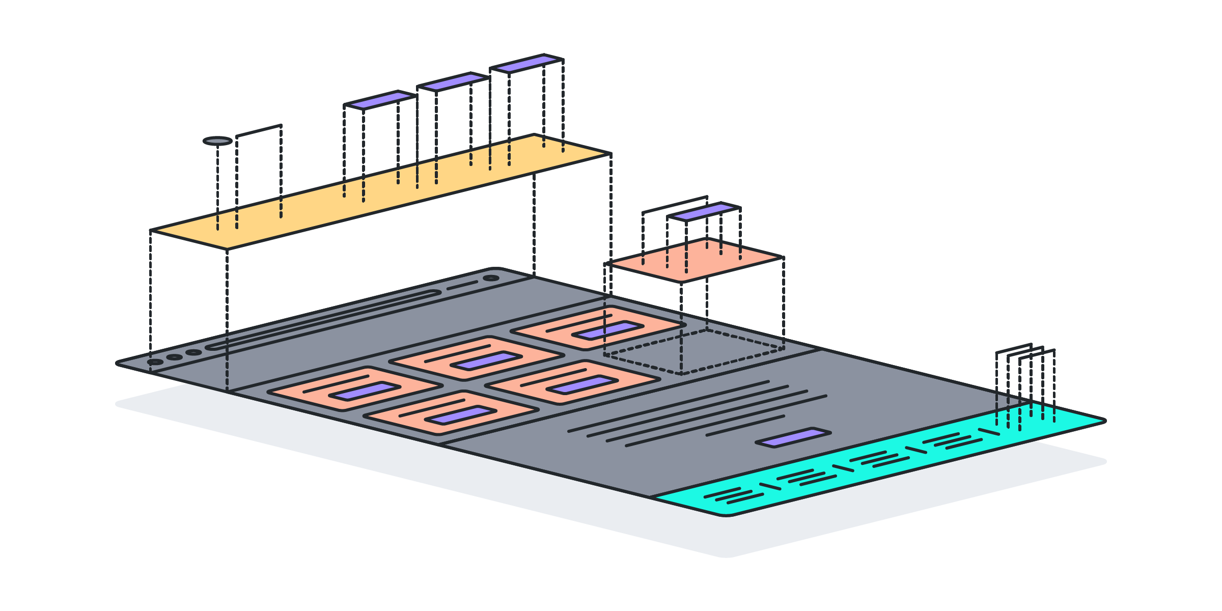 A diagram showing how modules fit together into a design mockup.