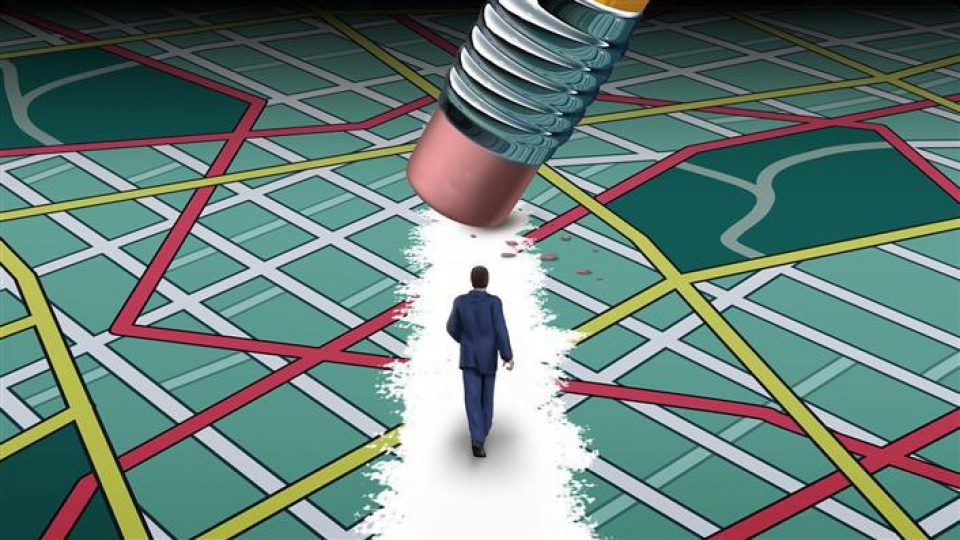 An illustration of a man walking along a map, a giant pencil erases the paths of the map presenting a new path for the man.