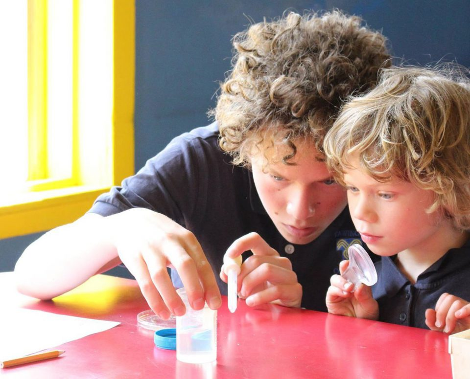Two adolescents, one younger and one older, sit closely and perform a science experiment with beakers and magnifying glasses.