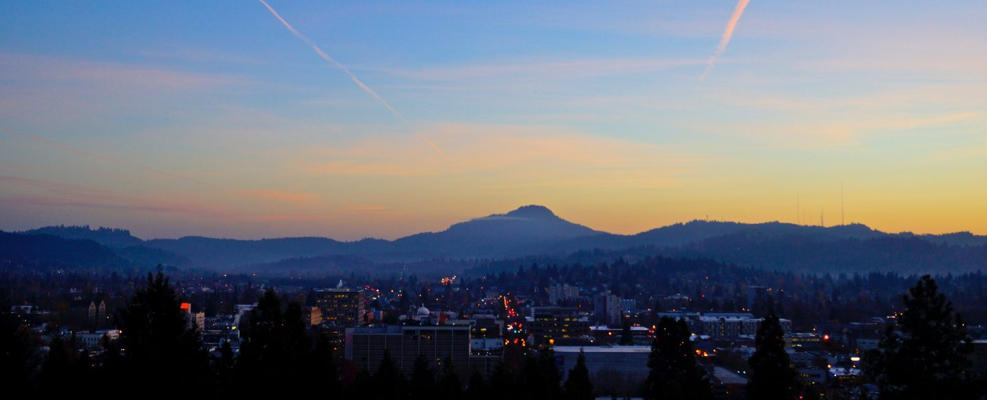 A view of Eugene Oregon from on top of Skinner's Butte.